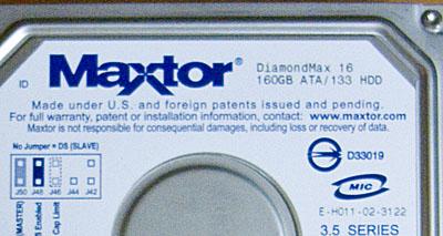 準備したのは、参考としたwebのとおりMaxtorのDiamondmax16 160GB ATA/133